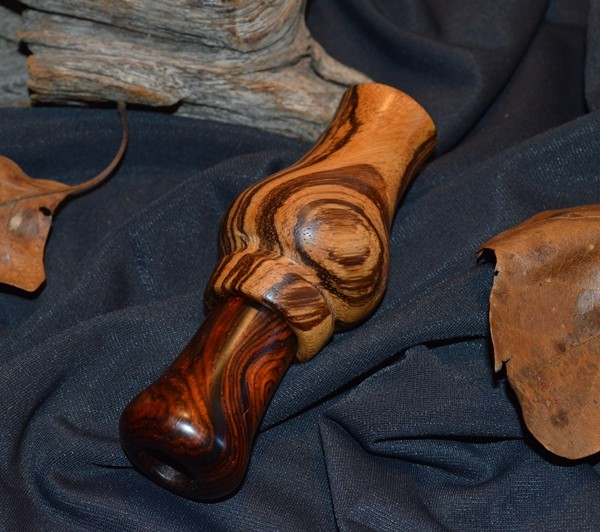 Zebrawood with Cocobolo insert. NC Swamp Buster series- custom duck calls.